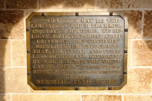 Picture of the Sifting and Winnowing plaque on Bascom Hall